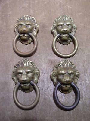 Vintage Lion Head Door Knocker Drawer Pulls Dresser Cabinet Hardware Brass Lot