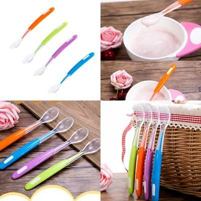 Baby Multi-color Soft Silicone Soup Spoon Handle Easy Feeding Soup Spoon New