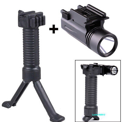 Tactical Vertical Grip Fore Hand Grip Foregrip & Tactical 300LM LED Pistol Light