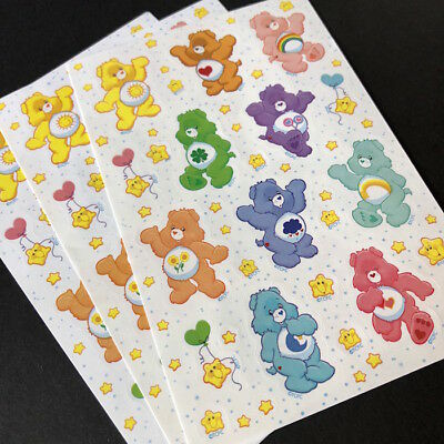 Vintage Care Bear Stickers - Three Sticker Sheets!  Great Condition!
