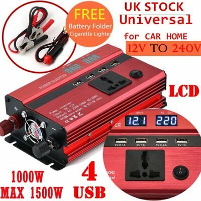 1000W 1500W 12V to 240V Car Power Converter Inverter Charger 4 USB Digital LCD#X
