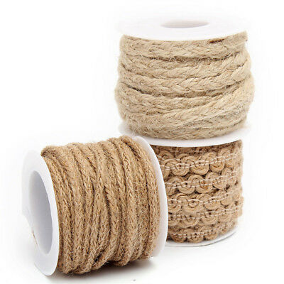 3Style 5M Natural Jute Hessian Rope Cord Twine Braided Twisted For Art Craft DIY