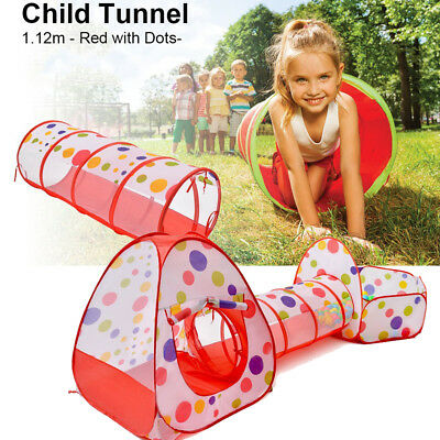 3 in 1 Pop Up Children Play Tent Tunnel House Kid Playhouse In/Outdoor Ball Pool