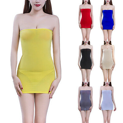 Womens Strapless Long Tube Top Tight Dress Mini Dresses Semi See-through Bodycon