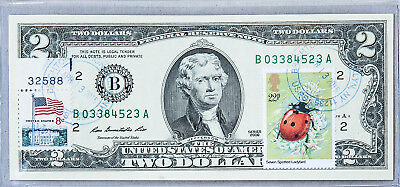 United States Currency Two Dollar Note Paper Money US $2 Bill Unc Stamp Ladybird