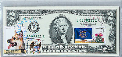 National Currency Note Paper Money US Two Dollar Bill Unc $2 2009 Stamp Shepherd