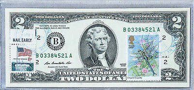 Two Dollar Note US Currency Paper Money Gem Uncirculated $2 2009 Stamp Dragonfly