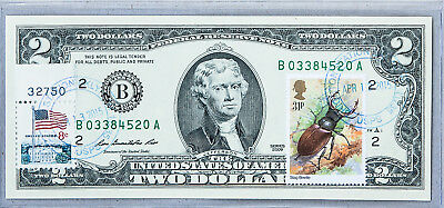 US Currency Paper Money Gem Uncirculated 2 Dollar Bill Collectible Stamps Beetle