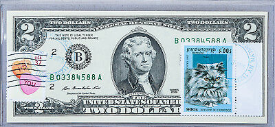 Two Dollar Note Federal Reserve Bank B Paper Money US Gem Uncirculated Stamp Cat