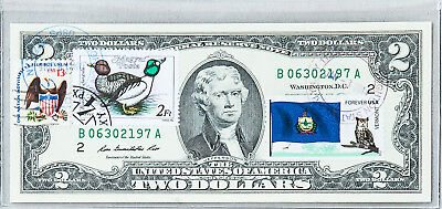 National Currency Note US Two Dollar Bill Currency Paper Money $2 Unc Stamp Duck