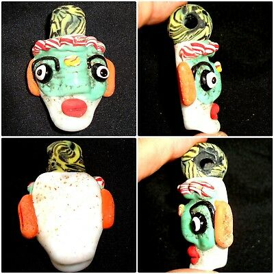 Ancient Style Phoenician Green Face Head Ear Mosaic Glass Bead Pendant 448