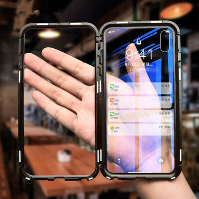New Magnetic Adsorption Metal Case Luxury Tempered Glass Cover For iPhone9 X 7 8