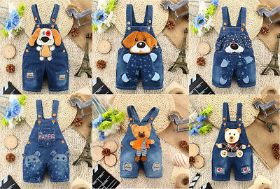 Summer Kids Baby Boy Clothes Girls Denim Cartoon Jeans Overalls Jumpers Pants