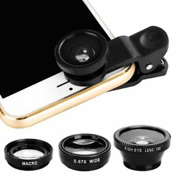 3in1 Clip On Camera Lens Kit Wide Angle Fish Eye Macro For Smart Phone-Bla@MT