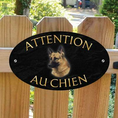 ATTENTION AU CHIEN German Shepherd Sign French Outdoor Alsatian Dog Gate Plaque