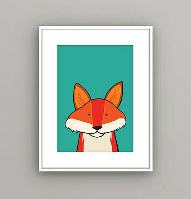 Nursery Kids Childrens Bedroom Woodland Animal Fox Wall Art Picture A4 Print