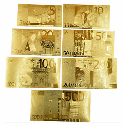 7pcs Euro Banknote Gold Foil Pleated EU Money Collection Bank Note Currency Set