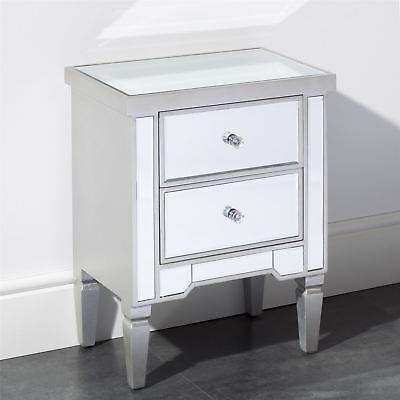 Gr8 Home Wooden Grey Mirrored Glass Bedside Cabinet 2 Drawer Side Table Bedroom