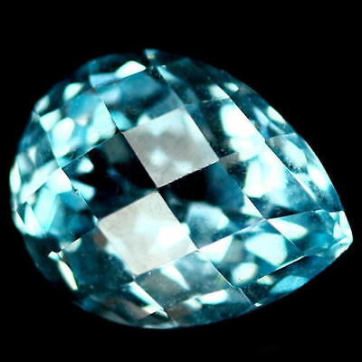 3.16 ct Natural AAA Sky Blue Brazillian Topaz Pear Shape Checkerboard Table