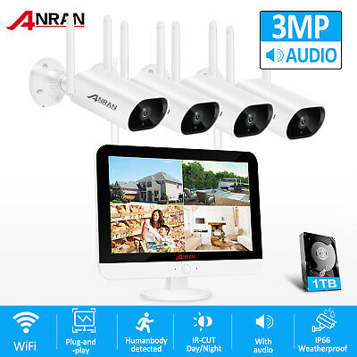"""1080P 4CH Wireless Security Camera System Outdoor 1TB Hard Drive 7"""" Monitor WiFi"""