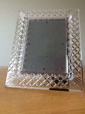 Heavy Tyrone Crystal Cut Glass Photo Frame 15 X 8 Photo 7 X 5
