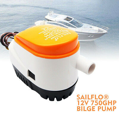 12V 750GPH Automatic Submersible Bilge Pump - Fully Auto Float Switch Internal
