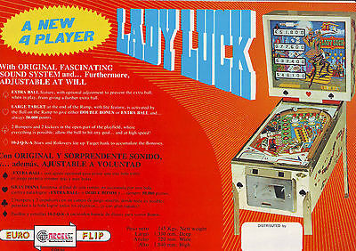 Recel Lady Luck Original Spanish Flipper Game Pinball Machine Flyer 1976