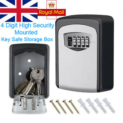 4 Digit Outdoor High Security Wall Mounted Key Safe Storage Box Code Secure Lock