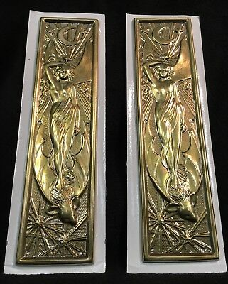BRASS effect DOOR PUSH PLATES Pair of new Ornate Art Nouveau door plates. Brass