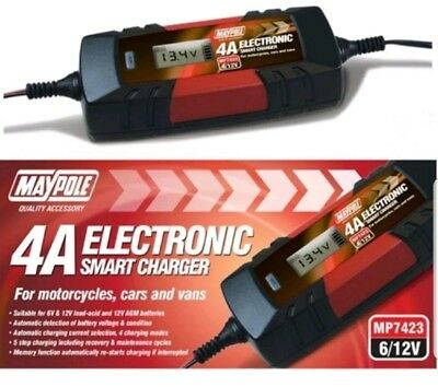 Maypole Battery Charger trickle Smart slow or fast 4A Car Motorcycle Van