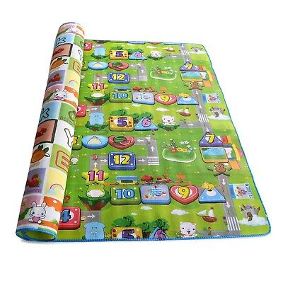 2X 2 Side Kids Crawling Educational Game Baby Play Mat Soft Foam Carpet Large UK