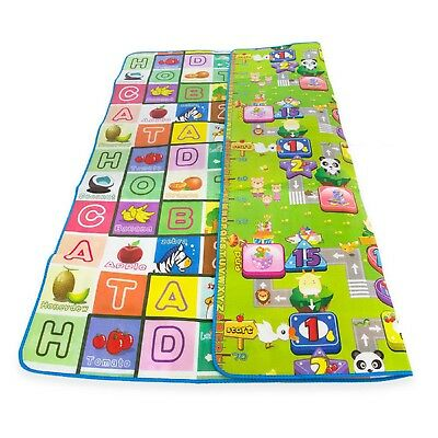 2 Side Kids Crawling Educational Game Baby Play Mat Soft Foam Carpet Large KDUK