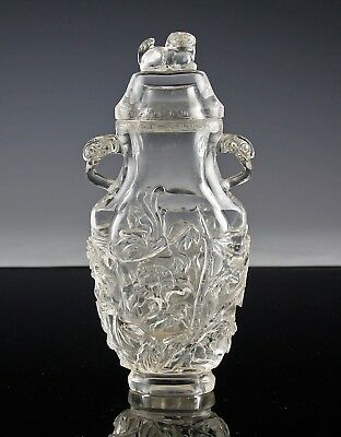 Antique Chinese Carved Rock Crystal Covered Vase With Handles