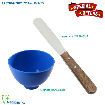 X 2 Dental Laboratory Plaster Spatula Dental Blue Mixing Alginate Bowl Lab Tools