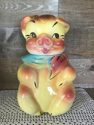 Vintage American Bisque Boy Pig Cookie Jar 1940's