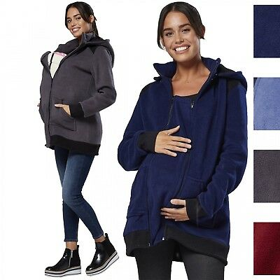 Happy Mama Women's Maternity Nursing Fleece Zipper Hoodie Turtleneck 035p