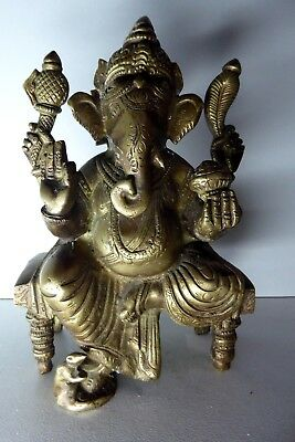 Heavy Old Cast Brass Ganesh Statue