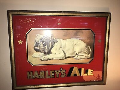Vtg advertising sign Hanley's Ale Reverse Painted with Bull Dog Providence RI