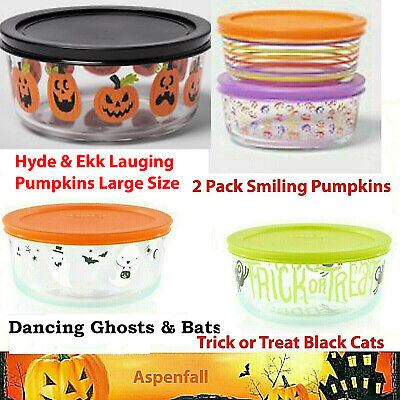 72dbe50b87 PYREX HALLOWEEN TRICK Treat Boo Glass Limited Edition 4 Cup Storage ...