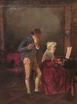 antique 18th century original figural oil painting playing music piano canvas