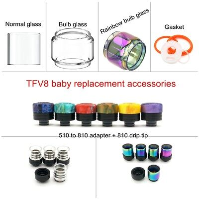Bubble Glass tube Drip tip Fit For SMOK² TFV8 baby Al85 Alien Stick V8 baby Tank
