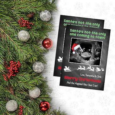 Personalised Christmas Pregnancy Announcement Cards   Santa Hat on Baby Scan