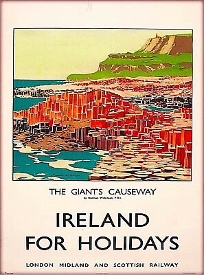 The Giants Causeway Holidays  Ireland Vintage Travel Advertisement Poster Print
