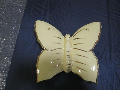 Vintage Butterfly Yellow Wall Pocket Planter Vase with 22kt Gold Trim