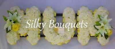 Mum Artificial Silk Funeral Flower Tribute Any 3 Letter Wreath Floral Memorial