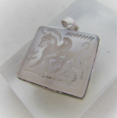 Beautiful Old Near Eastern Silver Amulet With Agate Intaglio Insert
