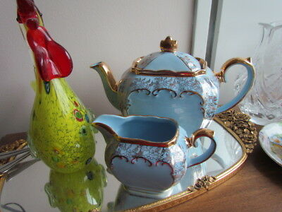 Rare Antique Vintage Sadler Blue Gold Tea pot Creamer Lot set Cube England