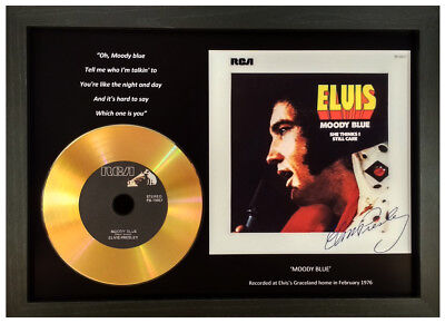 Elvis Presley 'Moody Blue' Signed Gold Disc Collectable Gift Memorabilia