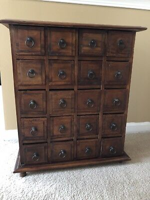 Antique Wooden 20 Drawer Apothecary Cabinet