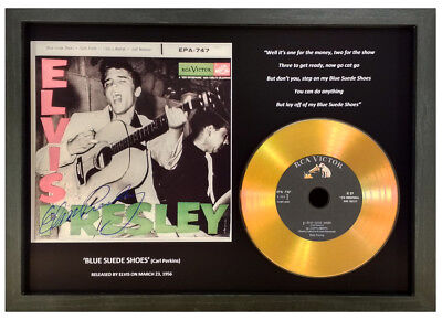Elvis Presley 'blue Suede Shoes' Signed Gold Disc Collectable Gift Memorabilia